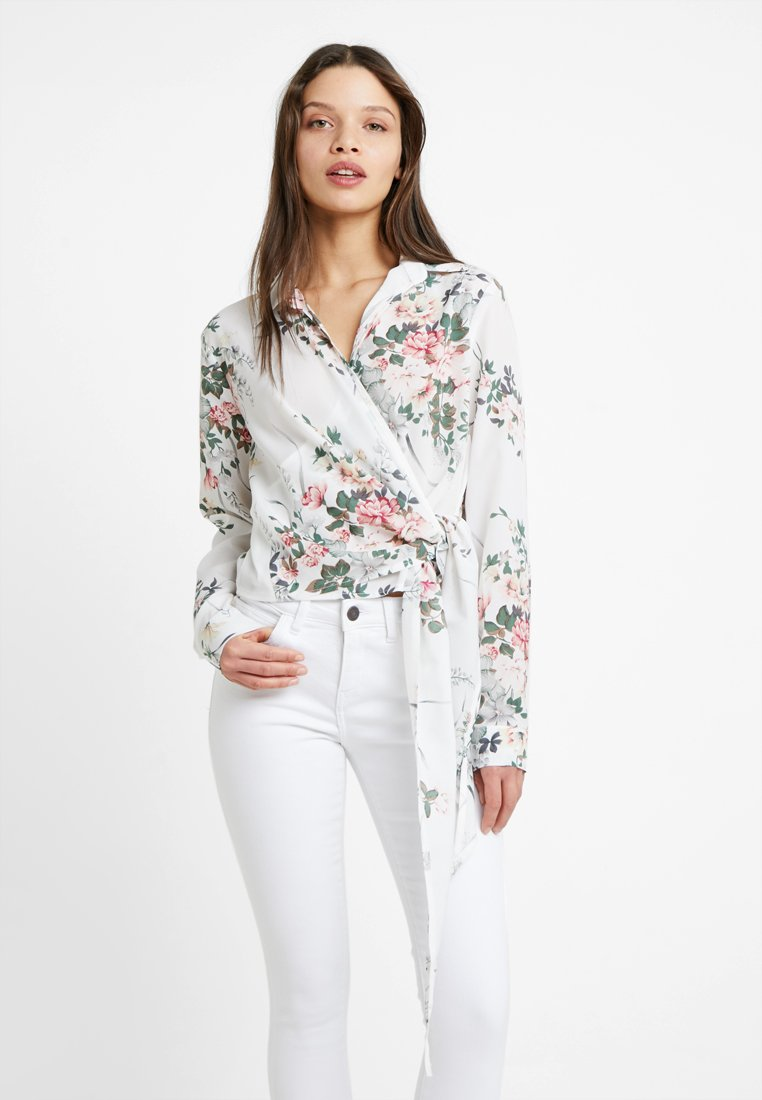 Missguided Petite - FLORAL SIDE TIE - Bluse - white