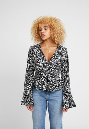 ABSTRACT SPOT PEPHEM BUTTON FRONT BLOUSE - Bluzka - black