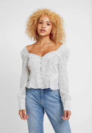 FLUTED HEM SCRIBBLE SPOT SQUARE NECK BLOUSE - Pusero - white