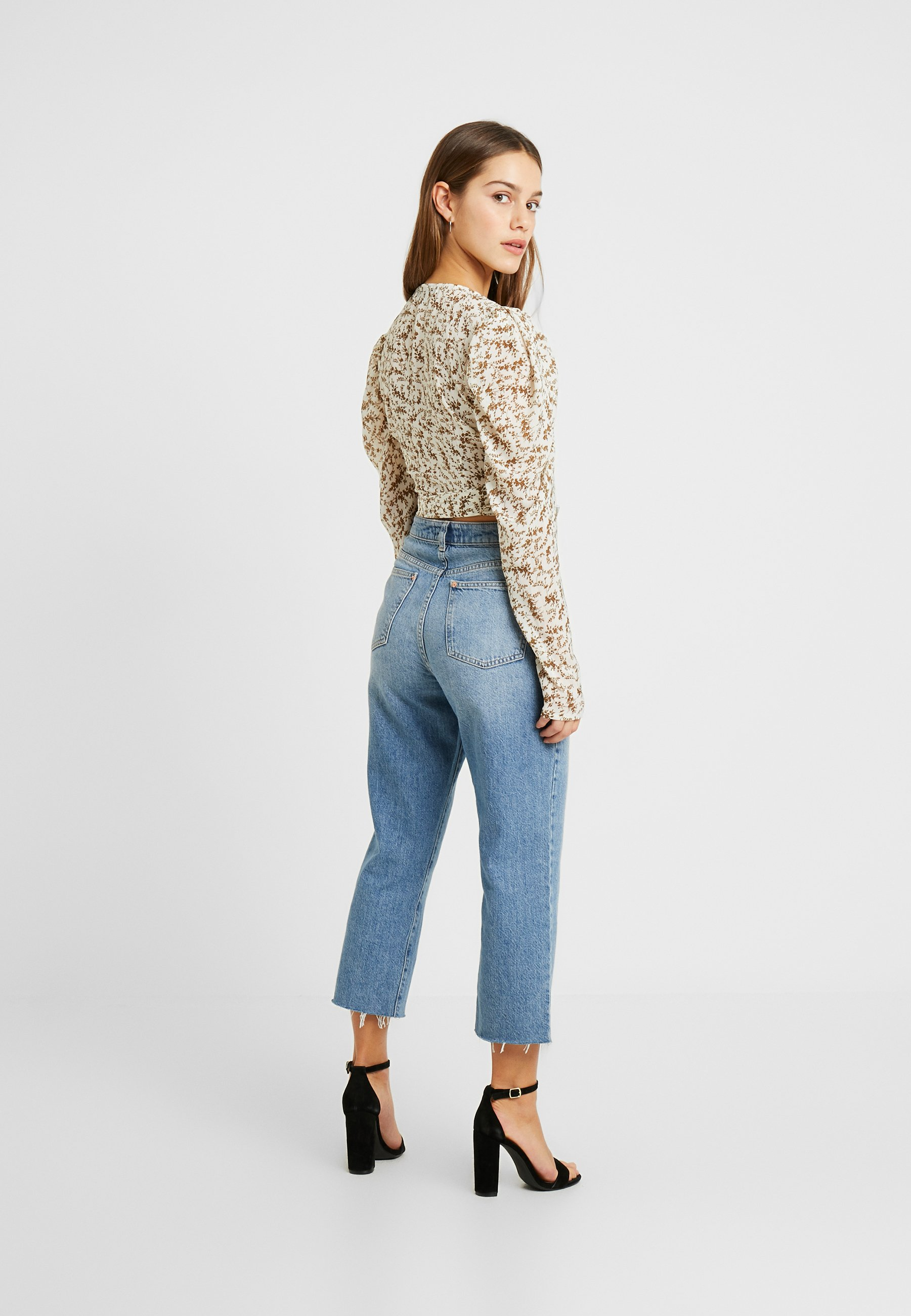 Missguided Petite TIE FRONT PUFF SLEEVE - Bluser - white