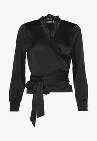 Missguided Petite - TRIM TIE FRONT BLOUSE - Blusa - black - 4