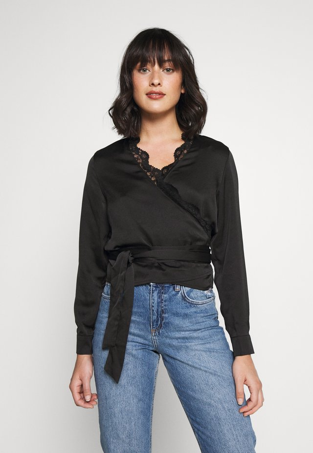 TRIM TIE FRONT BLOUSE - Bluser - black