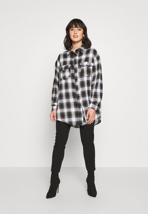 BRUSHED OVERSIZED BASIC CHECK SHIRT - Overhemdblouse - grey