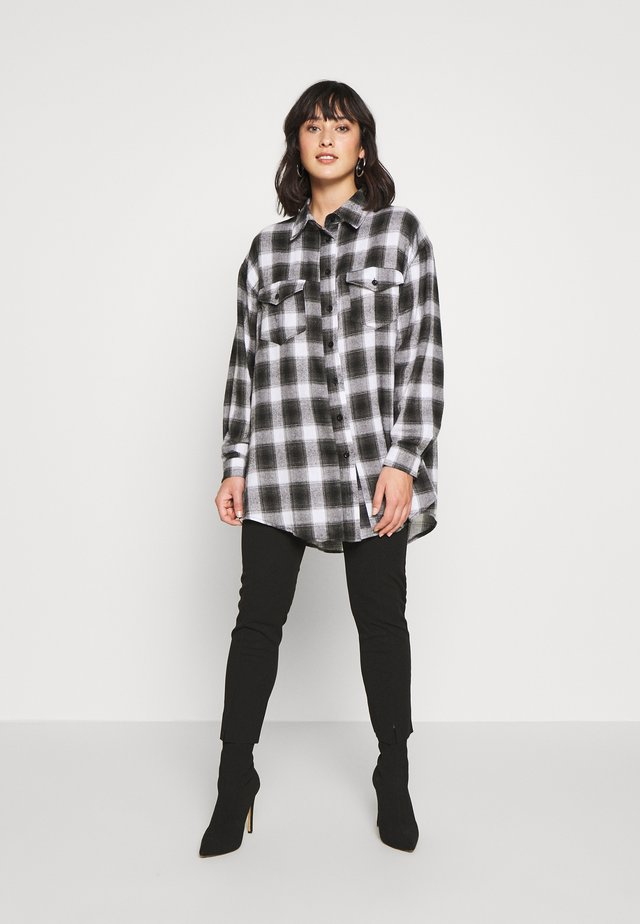 BRUSHED OVERSIZED BASIC CHECK SHIRT - Button-down blouse - grey