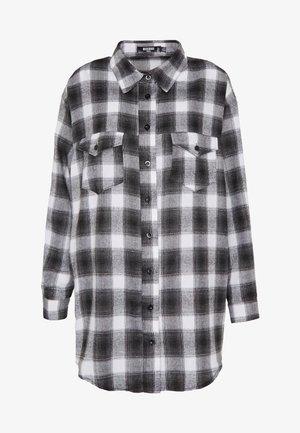 BRUSHED OVERSIZED BASIC CHECK SHIRT - Koszula - grey