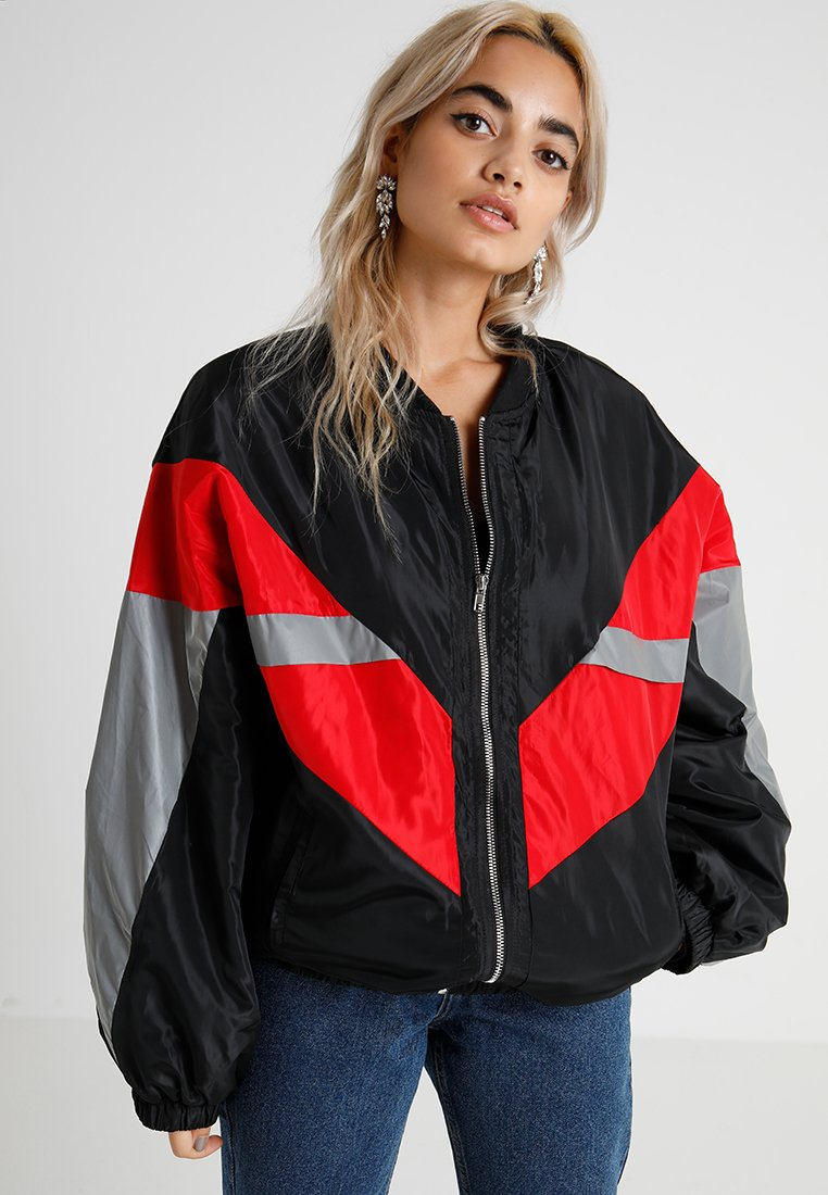 Missguided Petite - COLOUR BLOCK ZIP THRU JACKET - Bomber bunda - black/red