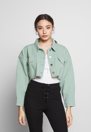CROPPED RAW JACKET - Giacca di jeans - mint