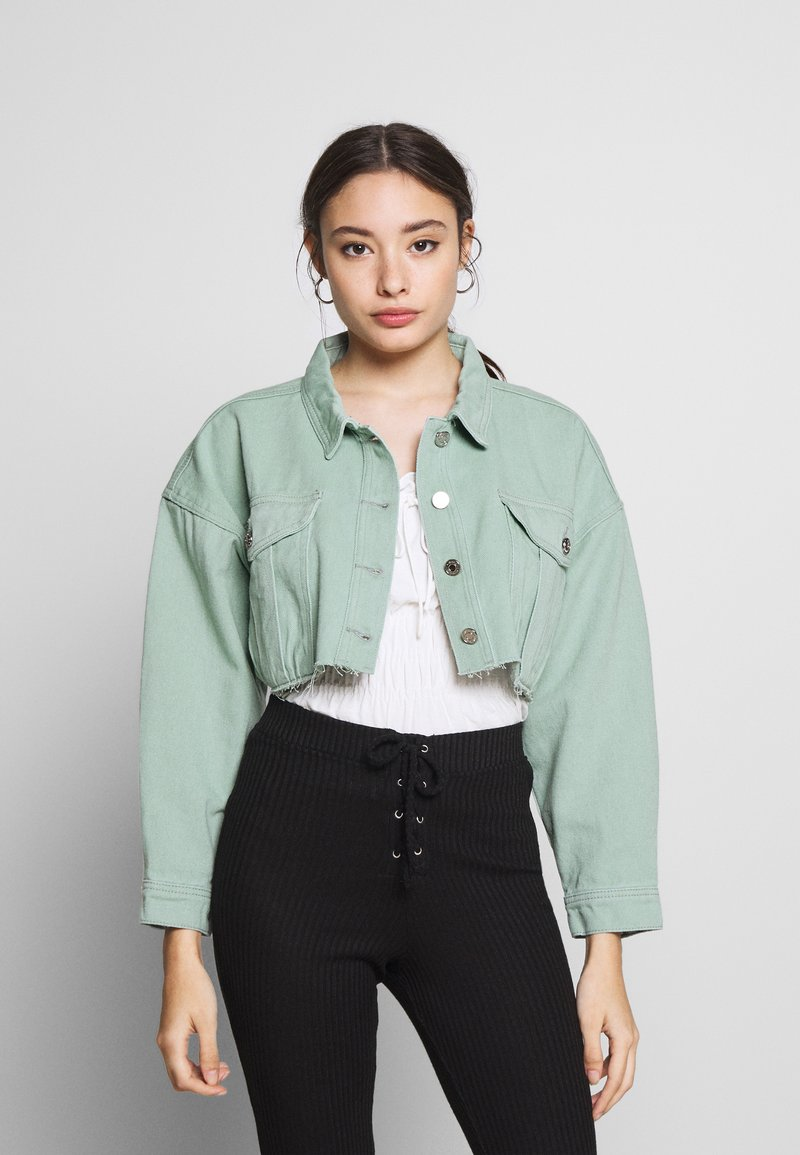 Missguided Petite - CROPPED RAW JACKET - Denim jacket - mint