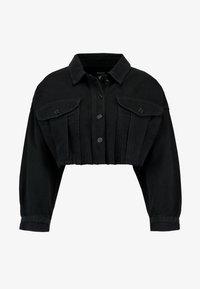 Missguided Petite - CROPPED RAW JACKET - Veste en jean - black - 3