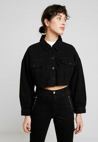 Missguided Petite - CROPPED RAW JACKET - Giacca di jeans - black - 0