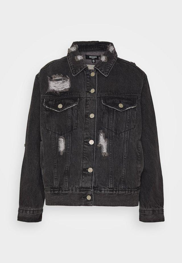 DISTRESSED OVERSIZED BOYFRIEND JACKET - Kurtka jeansowa - washed black