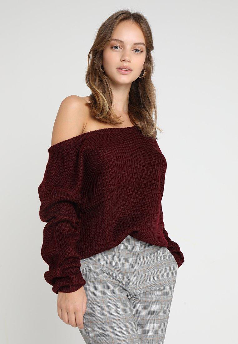 Missguided Petite - OPHELITA OFF SHOULDER JUMPER - Pullover - dark red