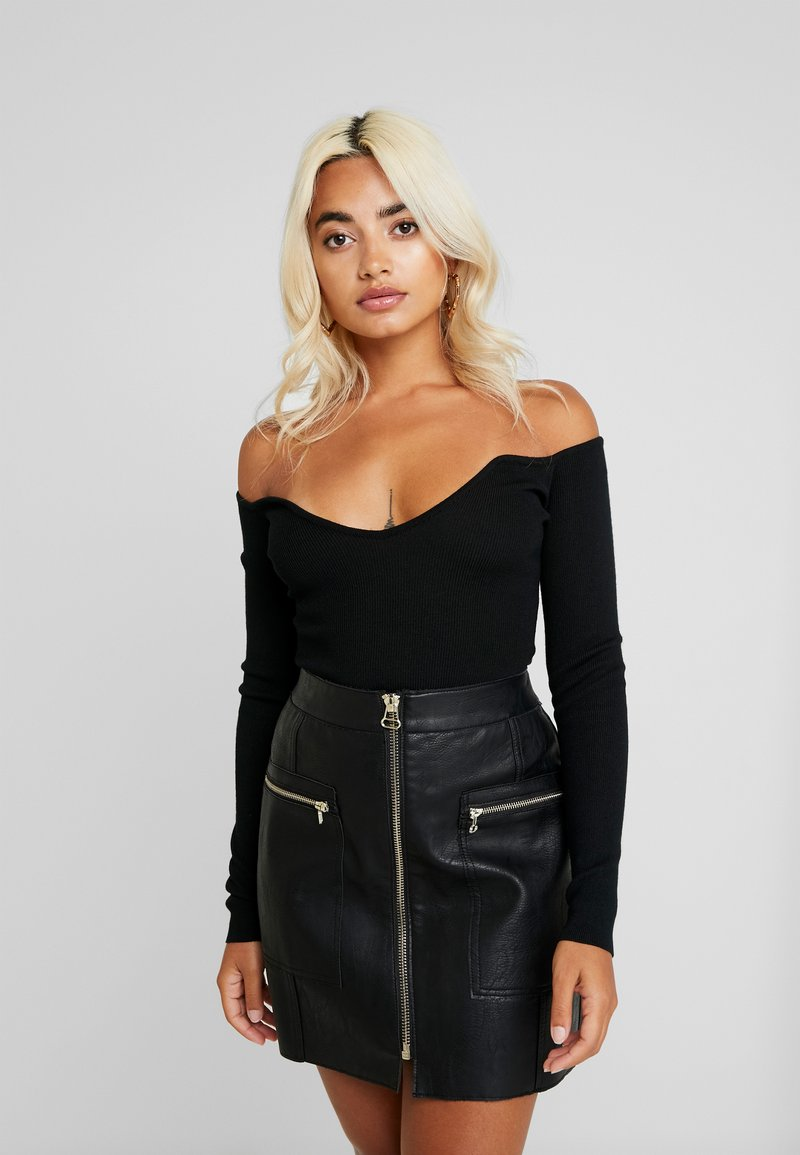 Missguided Petite - BARDOT LONG SLEEVED BODYSUIT - Maglietta a manica lunga - black