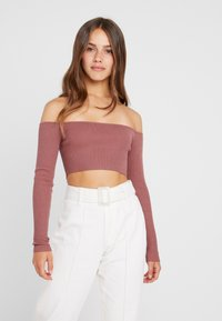 Missguided Petite - SQUARE NECK CROPPED - Strickpullover - mocha - 0