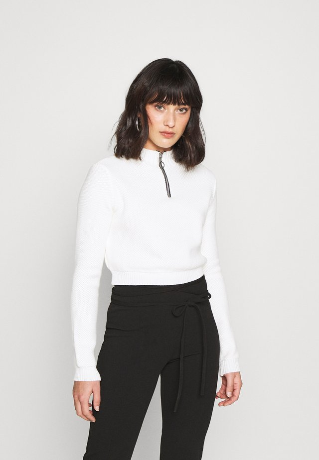 HIGH NECK ZIP UP CROPPED JUMPER - Neule - cream