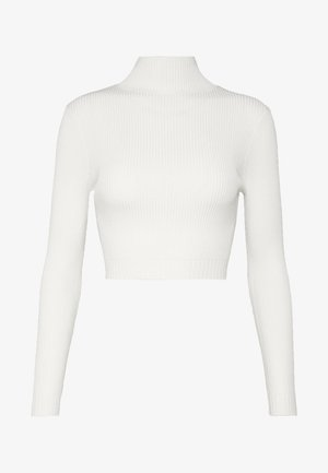 BASIC HIGH NECK CROP  - Neule - white