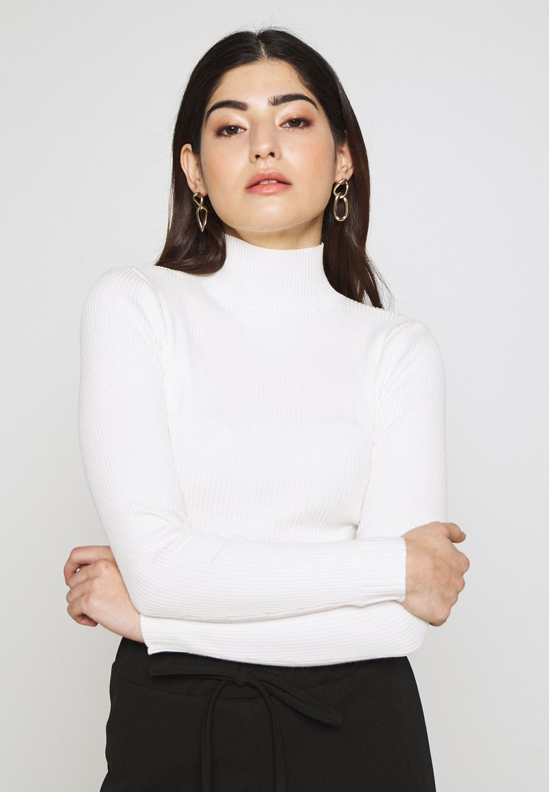 Missguided Petite - BASIC HIGH NECK CROP  - Jersey de punto - white