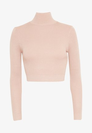 BASIC HIGH NECK CROP  - Jersey de punto - sand