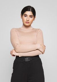 Missguided Petite - BASIC HIGH NECK CROP  - Pullover - sand - 0