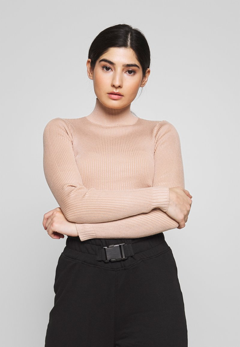 Missguided Petite - BASIC HIGH NECK CROP  - Pullover - sand