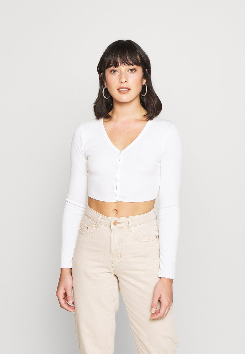 Missguided Petite - BUTTON UP TOP - Kardigan - cream