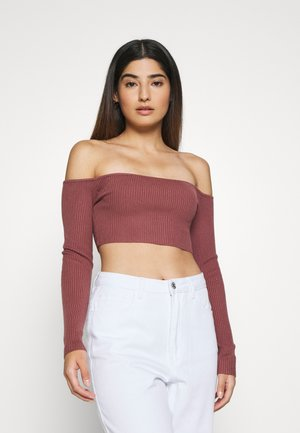 SQUARE NECK CROPPED JUMPER - Langarmshirt - mocha