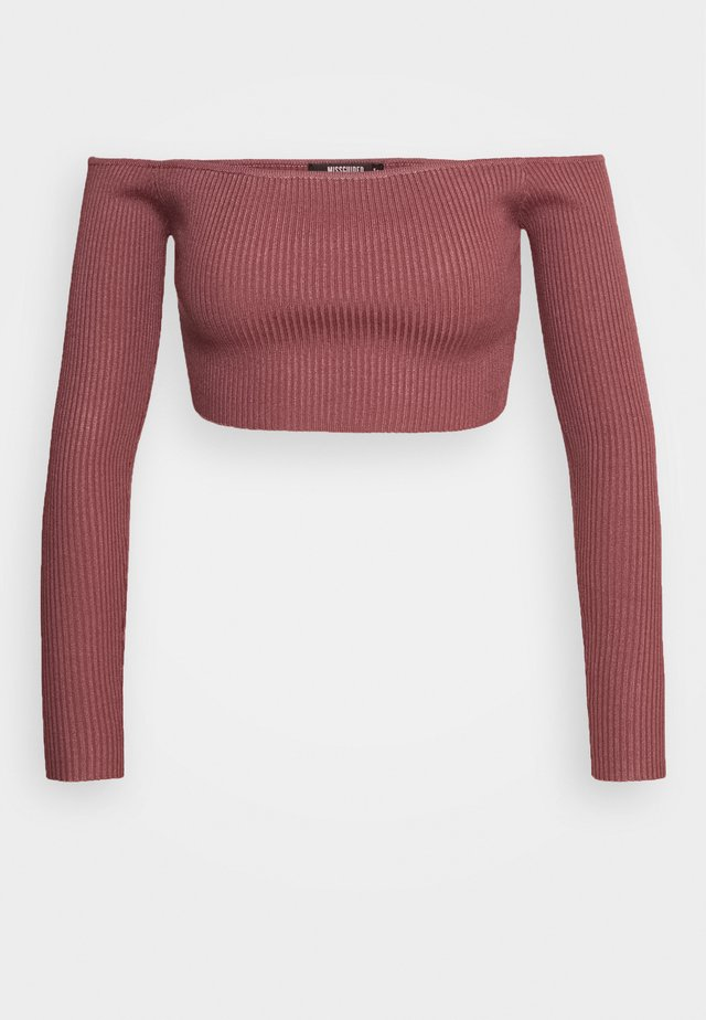 SQUARE NECK CROPPED JUMPER - T-shirt à manches longues - mocha