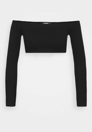 SQUARE NECK CROPPED JUMPER - Camiseta de manga larga - black