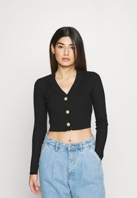 Missguided Petite - BUTTON CROPPED CARDIGAN - Cardigan - black - 0