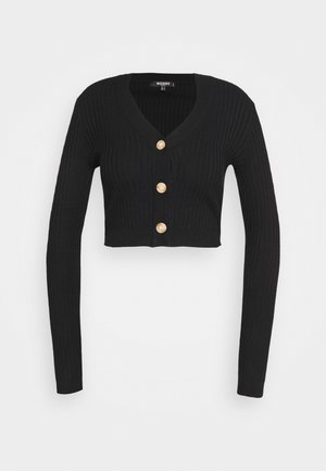 BUTTON CROPPED CARDIGAN - Cardigan - black