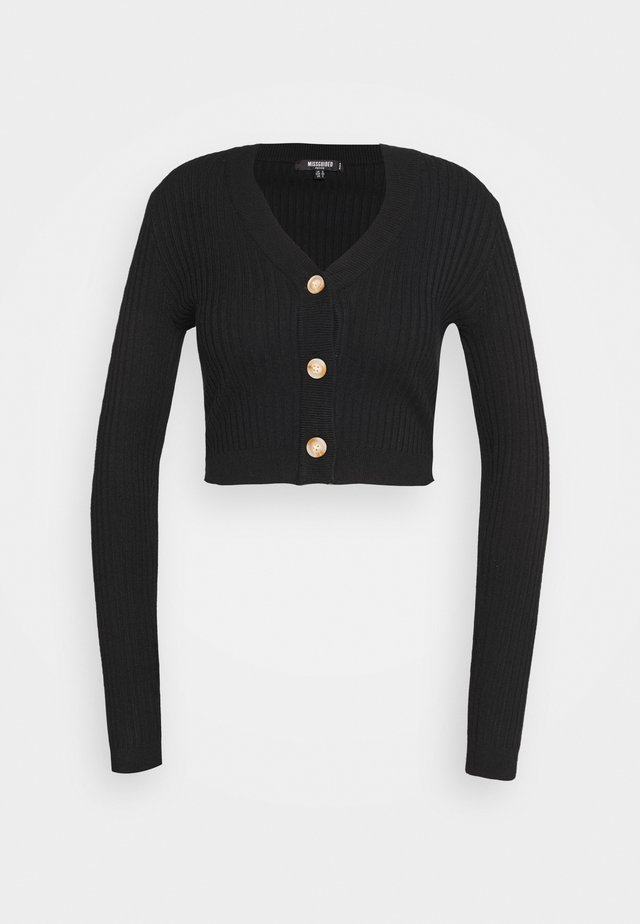 BUTTON CROPPED CARDIGAN - Gilet - black