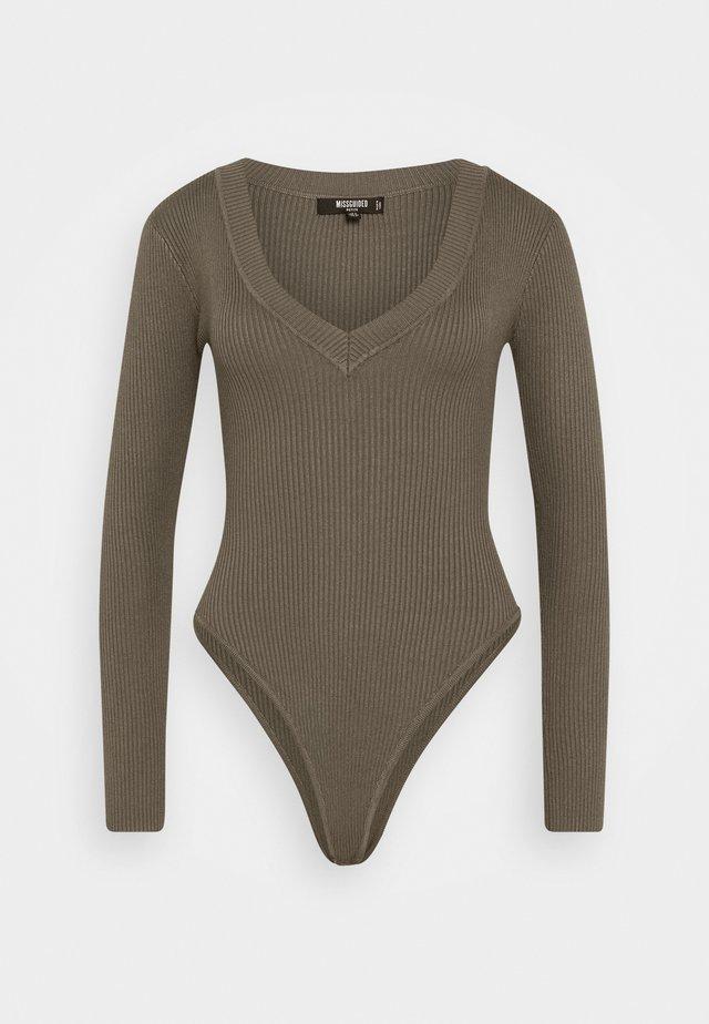 SKINNY V NECK - Sweter - khaki