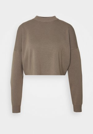 FUNNEL NECK CROPPED JUMPER - Jumper - khaki