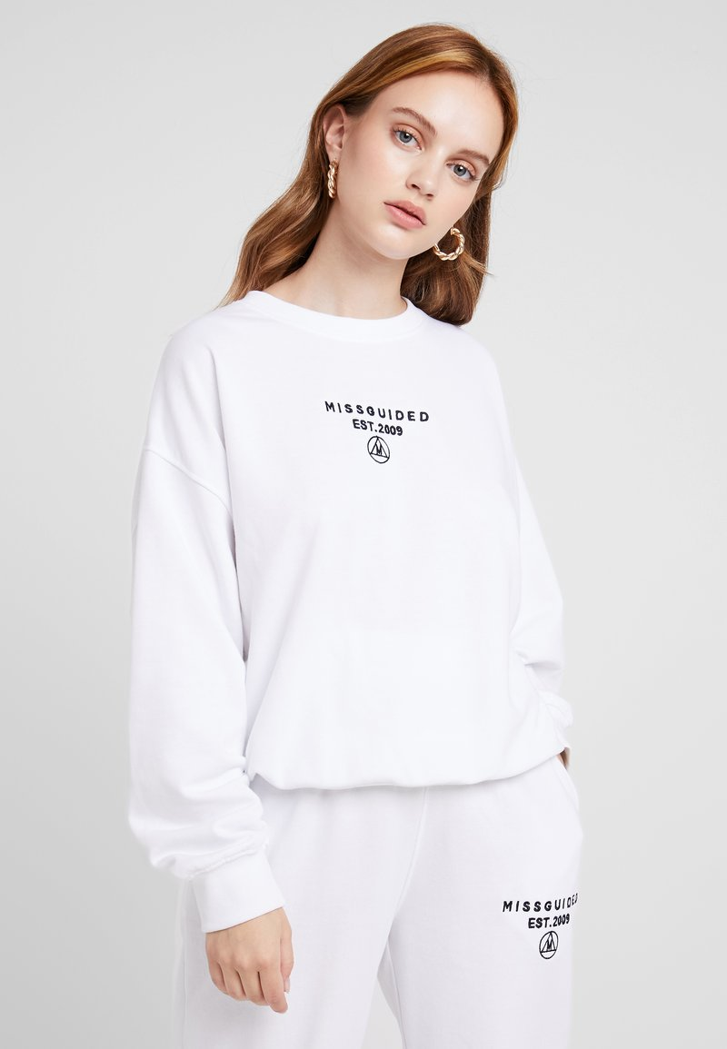 Missguided Petite - SLOGAN OVERSIZED - Sweater - white