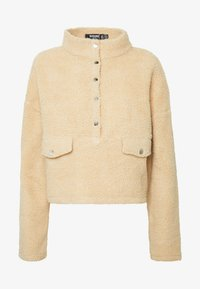 Missguided Petite - BORG POPPER FRONT HIGH NECK - Sweatshirt - sand - 4