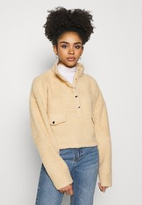 Missguided Petite - BORG POPPER FRONT HIGH NECK - Sweatshirt - sand - 0