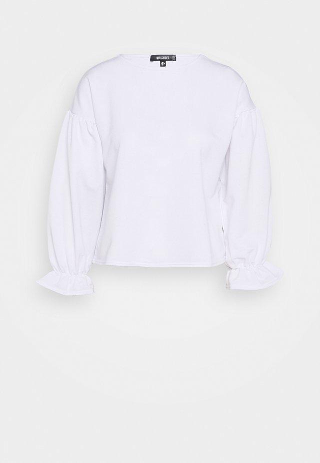 BALLOON SLEEVE FRILL CUFF  - Sweatshirt - white
