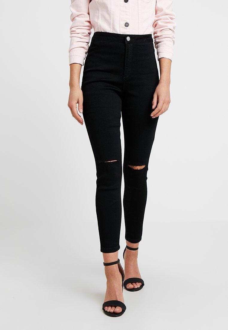 Missguided Petite - VICE HIGHWAISTED SLASH KNEE - Jeans Skinny Fit - black