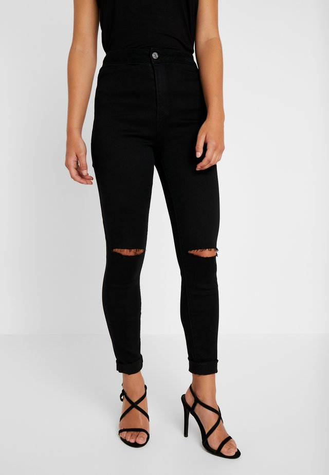 VICE HIGHWAISTED SLASH KNEE - Jeansy Skinny Fit - black