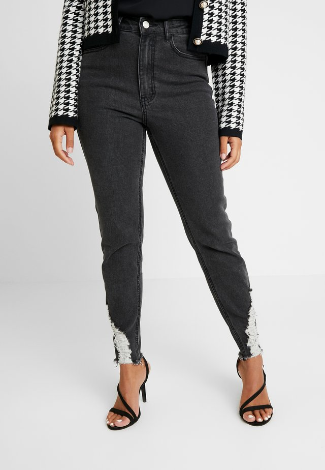 SINNER RIP KEY SHOUT - Jeansy Skinny Fit - washed black