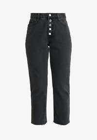 Missguided Petite - WRATH BUTTON FLY - Straight leg jeans - black - 4