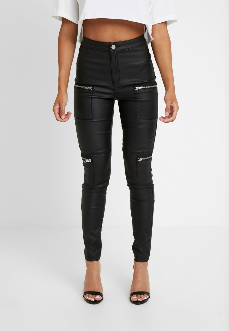 Missguided Petite - VICE HIGHWAISTED COATED ZIP POCKET - Jeans Skinny Fit - black