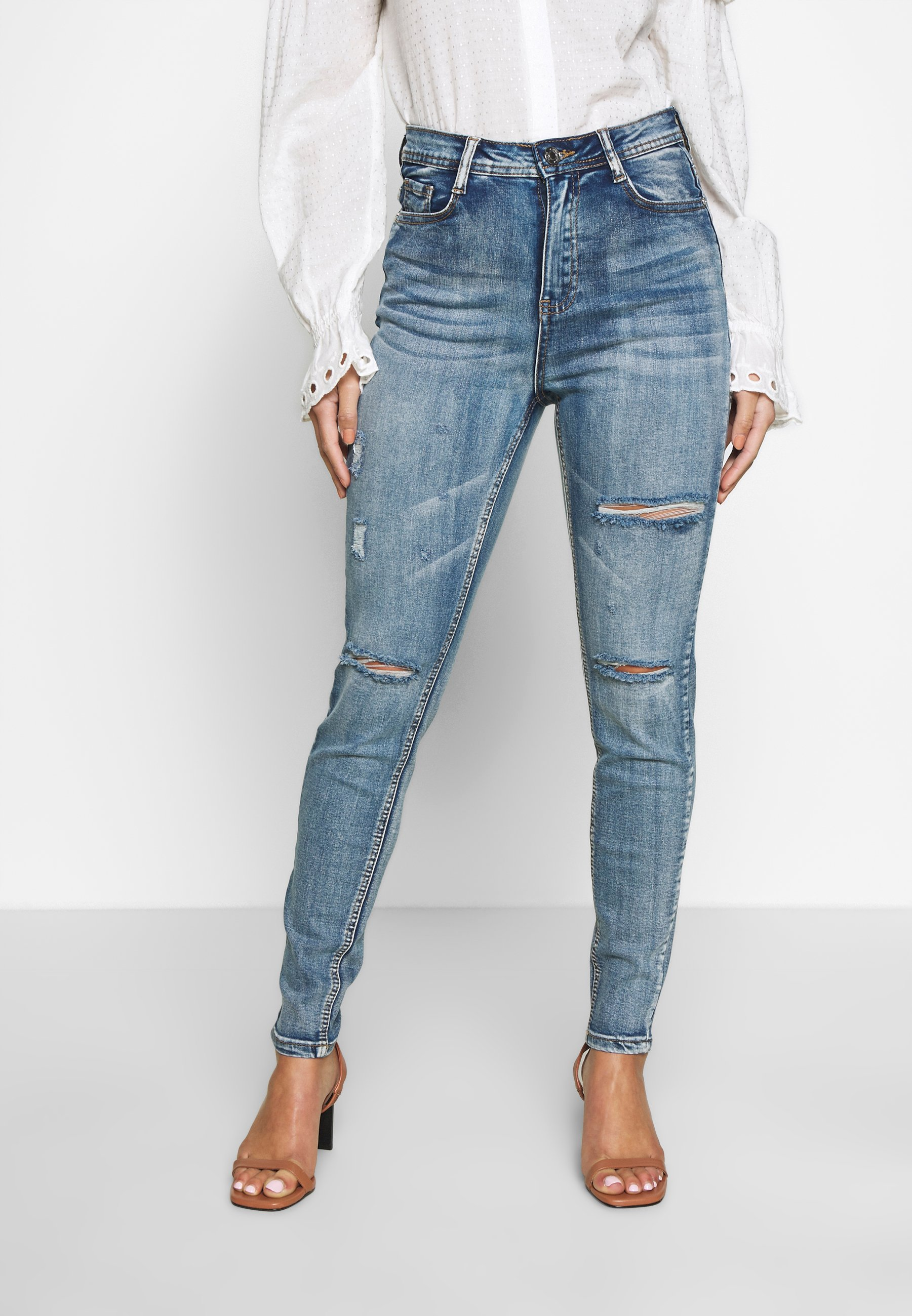 Missguided Petite SINNER HIGHWAISTED AUTHENTIC - Jeansy Skinny Fit - vintage wash blue