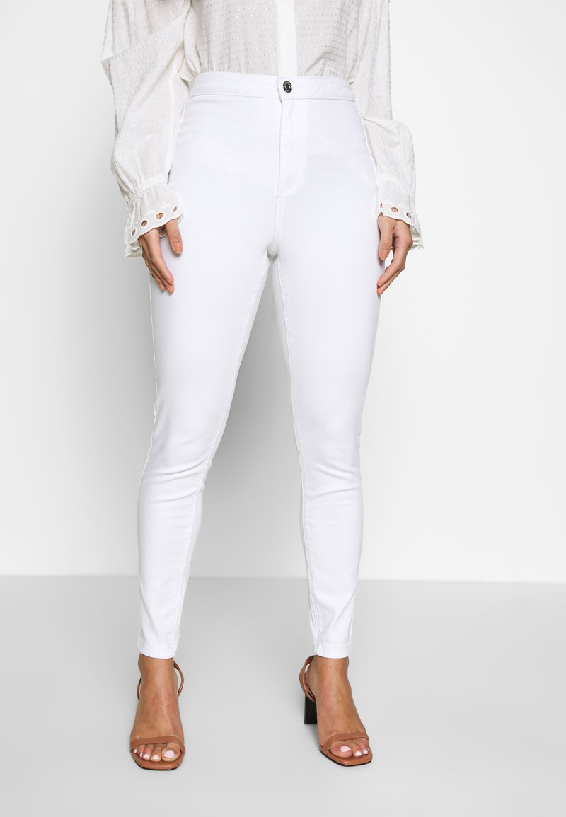 Missguided Petite - VICE HIGH WAISTED SKINNY - Jeans Skinny Fit - white