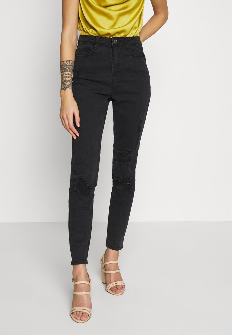 Missguided Petite - AUTHENTIC RIPPED  - Jeans Skinny Fit - black