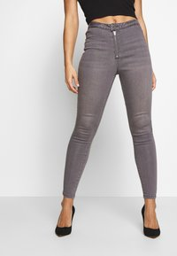 Missguided Petite - VICE EXPOSED ZIP BUTTON DETAIL  - Jeans Skinny - grey - 0