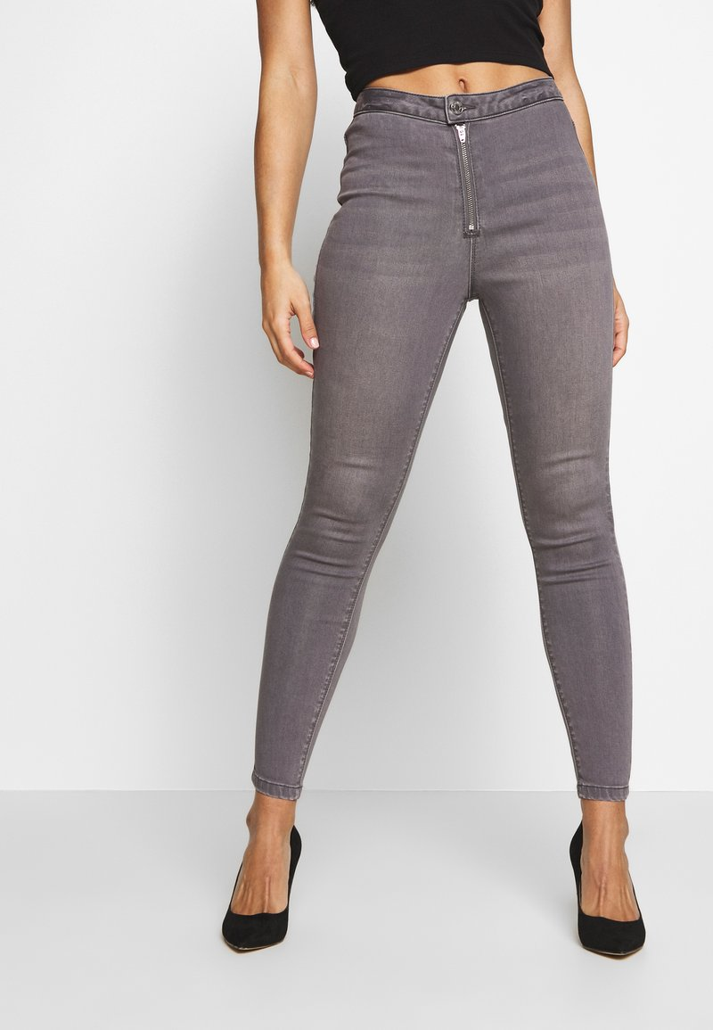 Missguided Petite - VICE EXPOSED ZIP BUTTON DETAIL  - Jeans Skinny - grey