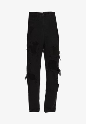 RIOT HIGH RISE EXTREME RIPPED MOM JEANS - Džíny Relaxed Fit - black