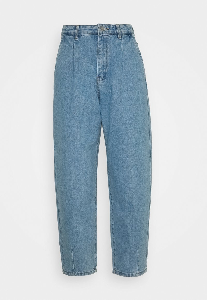 Missguided Petite - SLOUCH HIGHWAISTED PLEAT DETAIL - Jeans baggy - light blue