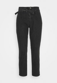 Missguided Petite - PAPER BAG TIE WAIST MOM - Jeans baggy - charcoal - 0